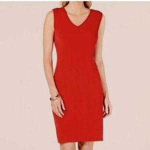 NWT Red Sleeveless V-Neck Sheath Dress L lace up L